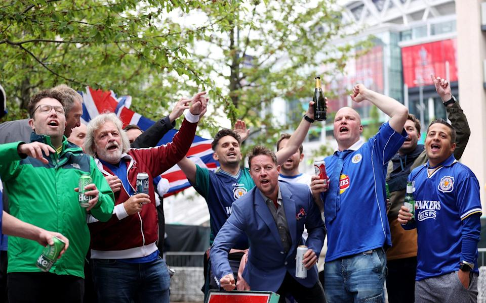 Leicester City fans are seen outside the stadium prior to The Emirates FA Cup Final match between Chelsea and Leicester City - Getty Images