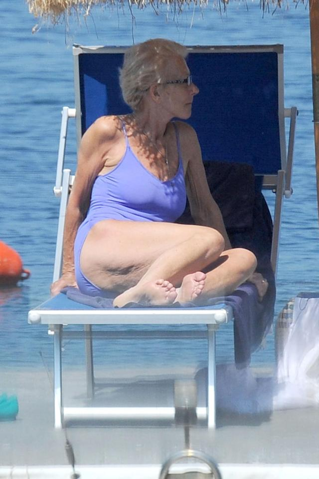 Helen Mirren, 69, lounging in a one-piece. (Photo: Backgrid)