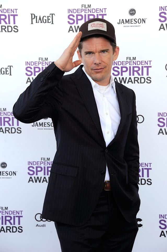 SANTA MONICA, CA - FEBRUARY 25:  Actor Ethan Hawke arrives at the 2012 Film Independent Spirit Awards on February 25, 2012 in Santa Monica, California.  (Photo by Frazer Harrison/Getty Images)
