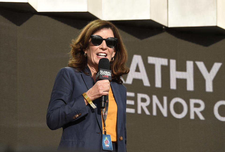New York governor Kathy Hochul speaks at Global Citizen Live in Central Park on Saturday, Sept. 25, 2021, in New York. (Photo by Evan Agostini/Invision/AP)
