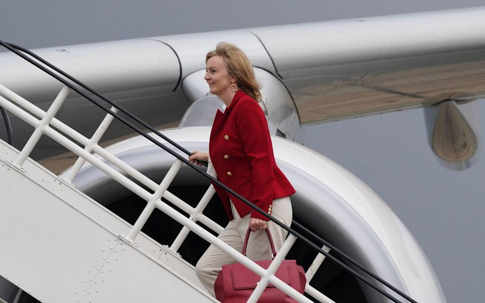 Foreign Secretary Liz Truss boards RAF Voyager at Stansted Airport ahead of a visit to Washington alongside Prime Minister Boris Johnson - PA