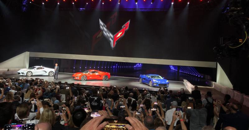 Chevrolet unveils its new 2020 C8 Corvette Stingray in red, white and blue in Tustin, California, on Thursday July 18, 2019.