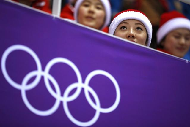 Short Track Speed Skating Events - Pyeongchang 2018 Winter Olympics - Women's 1000m Competition - Gangneung Ice Arena - Gangneung, South Korea - February 20, 2018. North Korean cheerleaders before the start. REUTERS/Phil Noble