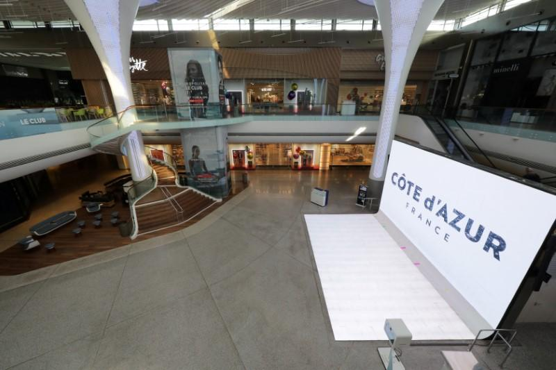 FILE PHOTO: Closed shops and empty area are seen at CAP3000 shopping mall in Saint-Laurent-du-Var