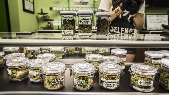 <p>New Year's Day is the first day of the legalization of recreational marijuana sales in California. Cathedral City Collective Care in Riverside County got permission to begin selling pot at midnight on New Year's Eve starting at 12:01am. The owner Nick Huges wanted to be the first in the state to sell recreationally. (Photo: Maria Alejandra Cardona / Los Angeles Times via Getty Images) </p>
