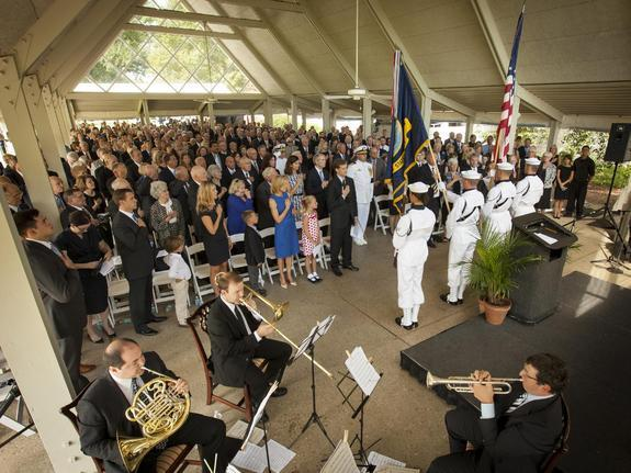 Members of the U.S. Navy Ceremonial Guard from Washington, D.C., present the Colors during a memorial service celebrating the life of Neil Armstrong, Friday, Aug. 31, 2012, in Cincinnati. Armstrong, the first man to walk on the moon during the