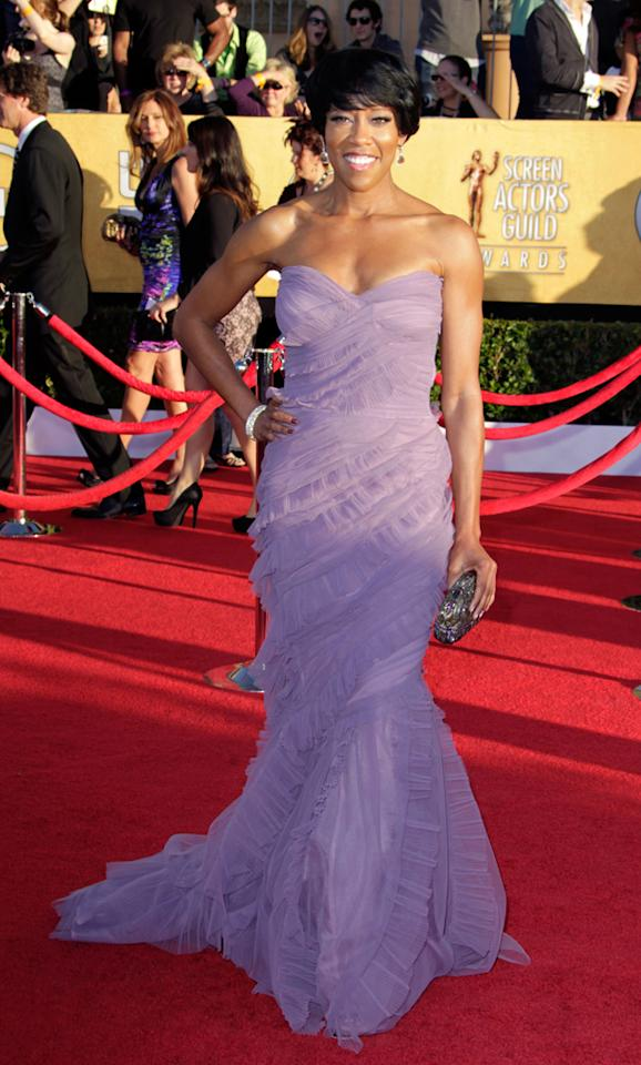 Regina King (in Alberta Ferretti) arrives at the 18th Annual Screen Actors Guild Awards at The Shrine Auditorium in Los Angeles, California.