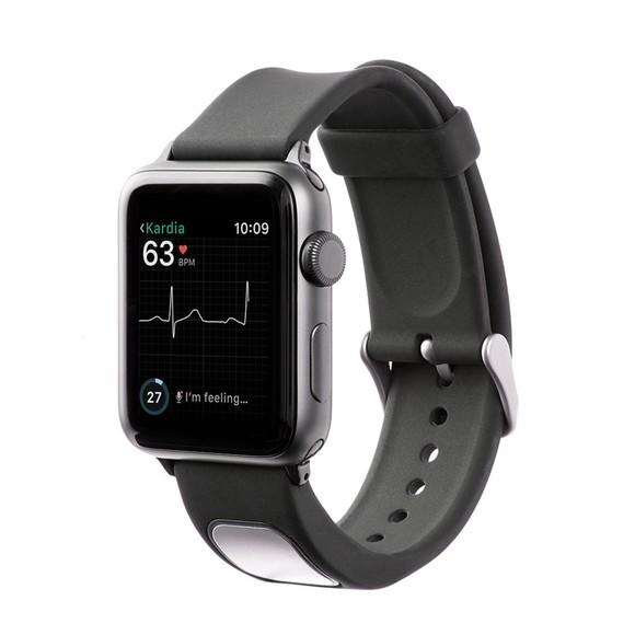 AliveCor's KardiaBand on an Apple Watch.
