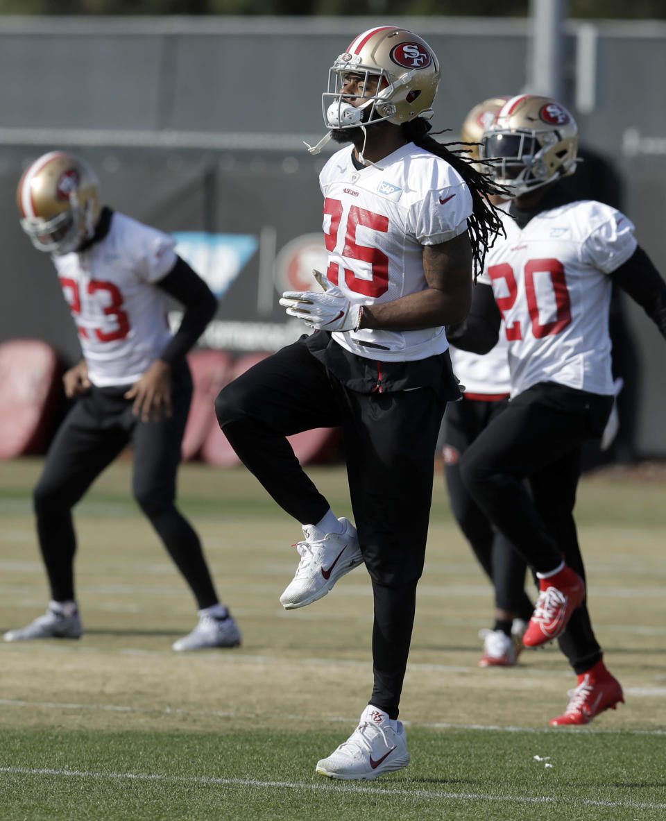 San Francisco 49ers' Richard Sherman (25) runs a drill during practice at the team's NFL football training facility Friday, Jan. 17, 2020, in Santa Clara, Calif. The 49ers are scheduled to host the Green Bay Packers in the NFC Championship game on Sunday. (AP Photo/Ben Margot)
