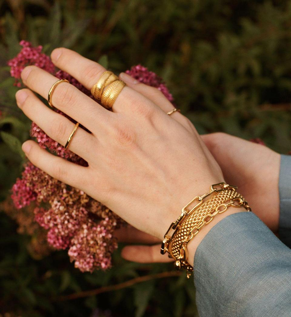 """<p>monicavinader.com</p><p><strong>$150.00</strong></p><p><a href=""""https://go.redirectingat.com?id=74968X1596630&url=https%3A%2F%2Fwww.monicavinader.com%2Fus%2Fdoina-cross-ring%2Fgold-vermeil-doina-cross-ring&sref=https%3A%2F%2Fwww.townandcountrymag.com%2Fstyle%2Fjewelry-and-watches%2Fg36027432%2Fbest-sustainable-jewelry-brands%2F"""" rel=""""nofollow noopener"""" target=""""_blank"""" data-ylk=""""slk:Shop Now"""" class=""""link rapid-noclick-resp"""">Shop Now</a></p><p>Jewelry designer Monica Vinader's collaboration with model Doina Ciobanu last year was the first sustainable collection for her brand. Everything is made from recycled metals and shipping is carbon neutral. </p>"""