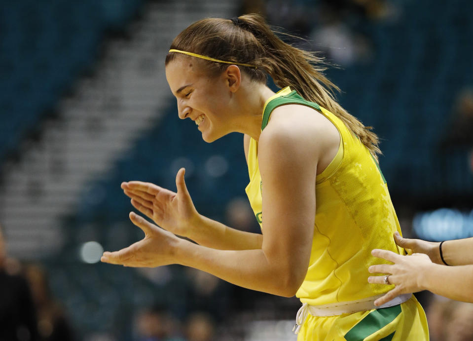 Oregon's Sabrina Ionescu reacts after a play against Arizona during the second half of an NCAA college basketball game at the Pac-12 women's tournament Friday, March 8, 2019, in Las Vegas. (AP Photo/John Locher)