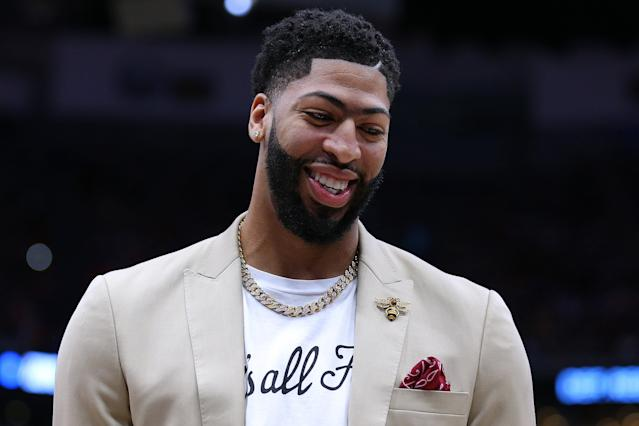 NEW ORLEANS, LOUISIANA - APRIL 09: Anthony Davis #23 of the New Orleans Pelicans reacts before a game against the Golden State Warriors at the Smoothie King Center on April 09, 2019 in New Orleans, Louisiana. (Photo by Jonathan Bachman/Getty Images)