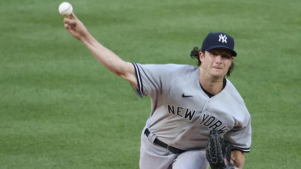 Gerrit Cole pitches on Opening Night