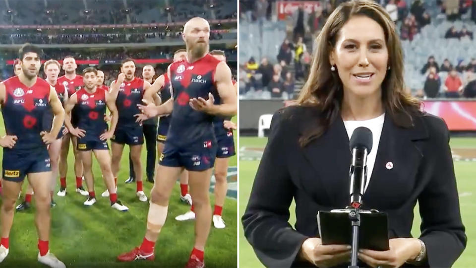 Bridget McIntrye, pictured here during the bizarre post-match blunder.