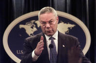 FILE - In this Monday, Sept. 17, 2001 file photo, Secretary of State Colin Powell speaks during a news conference at the State Department in Washington, discussing the diplomatic aspects of the previous week's terrorist attacks. (AP Photo/Hillery Smith Garrison, File)