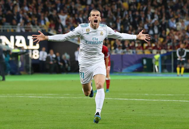 Soccer Football - Champions League Final - Real Madrid v Liverpool - NSC Olympic Stadium, Kiev, Ukraine - May 26, 2018 Real Madrid's Gareth Bale celebrates scoring their second goal REUTERS/Hannah McKay TPX IMAGES OF THE DAY