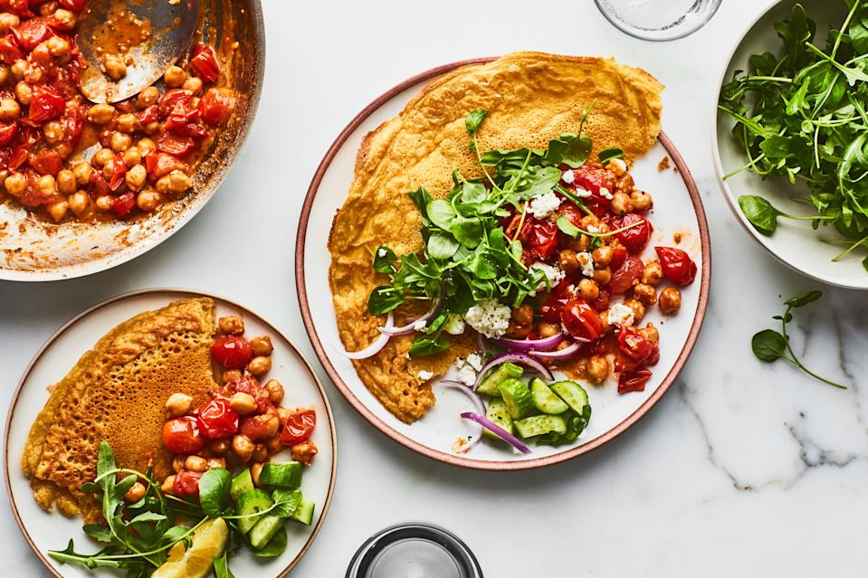 """<h1 class=""""title"""">SMALL PLATES Chickpea Flatbread recipe</h1><div class=""""caption"""">Looking for ideas to get you started? <a href=""""https://www.epicurious.com/recipes-menus/meatless-vegetarian-recipes-winter-gallery?mbid=synd_yahoo_rss"""" rel=""""nofollow noopener"""" target=""""_blank"""" data-ylk=""""slk:Here are a few dozen vegetarian dinners"""" class=""""link rapid-noclick-resp""""><strong>Here are a few dozen vegetarian dinners</strong></a>.</div><cite class=""""credit"""">Photo by Chelsea Kyle, Food Styling by Simon Andrews</cite>"""