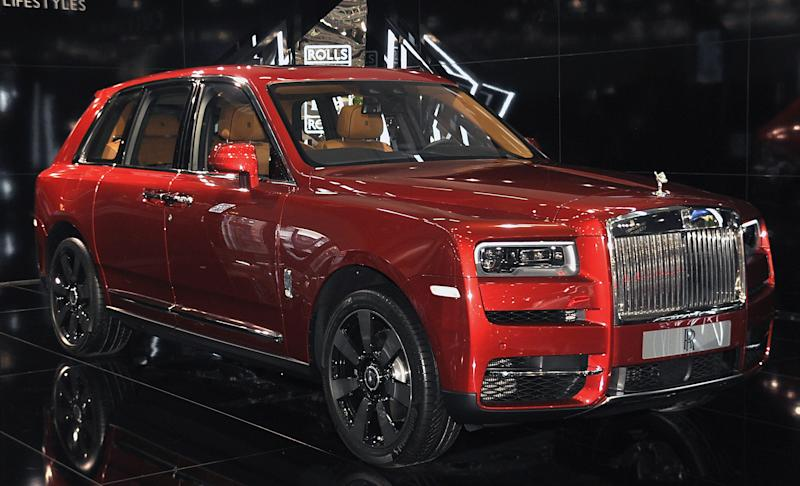 VIENNA, AUSTRIA - JANUARY 10: A Rolls Royce Cullinan is displayed during the Vienna Autoshow, as part of Vienna Holiday Fair on January 10, 2019 in Vienna, Austria. The Vienna Autoshow will be held from January 10-13. (Photo by Manfred Schmid/Getty Images)