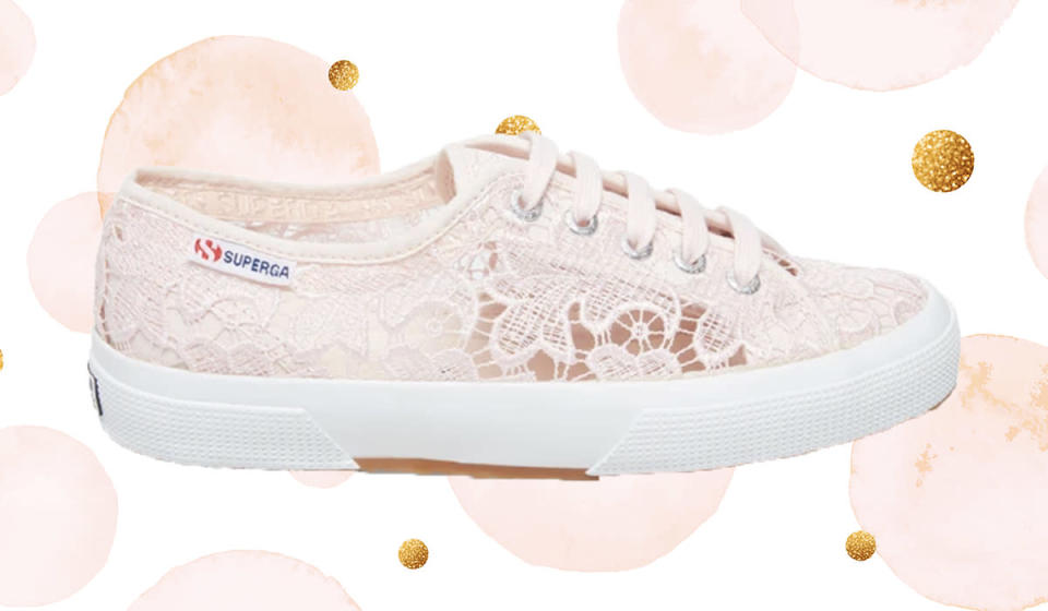Delicate lace lends a feminine touch to Kate's go-to sneakers. (Photo: Superga)