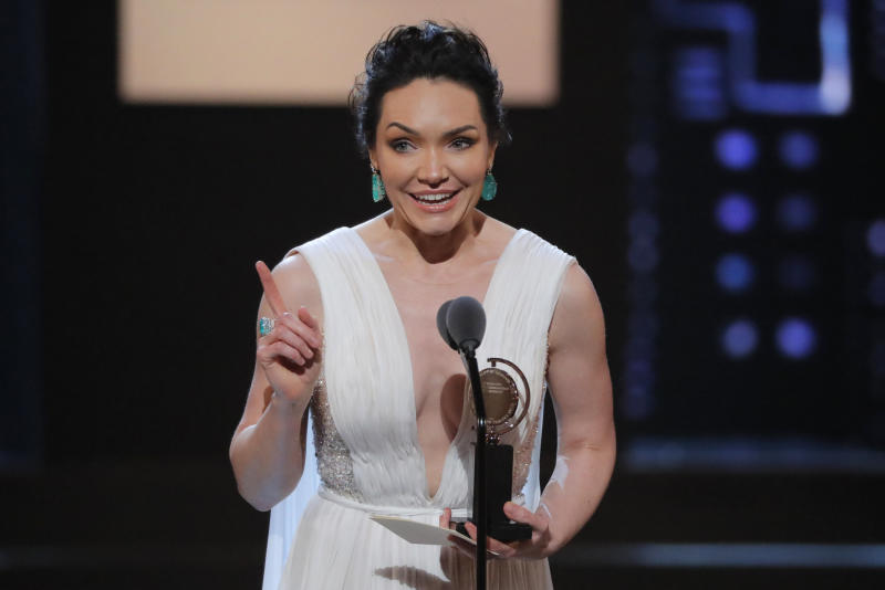 """Katrina Lenk accepts the award for Lead Actress in a Musical for """"The Band's Visit."""" (Lucas Jackson / Reuters)"""