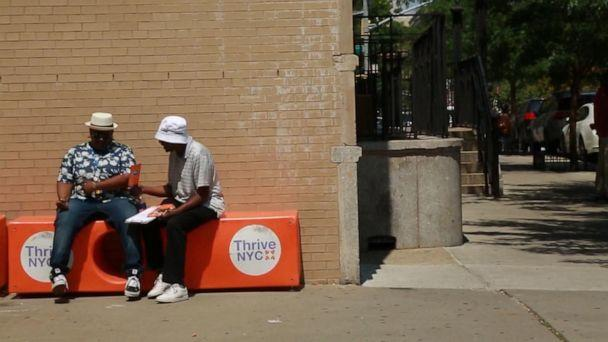 PHOTO: The Friendship Bench offers peer-to-peer mental health conversations on benches in New York City. (ABC News)