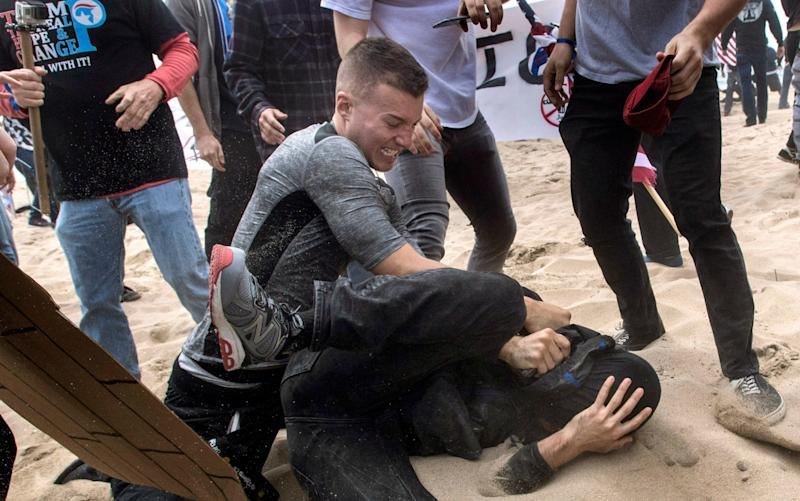 Trump supporters clashed with ant-Trump supporters in Huntington Beach - The Orange County Register