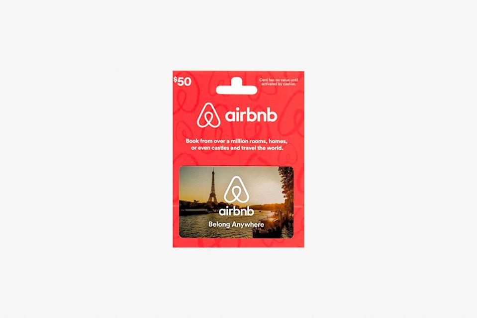 """Contributing to a friend's Airbnb fund is a no-brainer: it helps make their trip planning easier, and you give them an excuse to gawk at the many beautiful apartments found across Paris and imagine they're a character in <em>Amelie</em>. If they need a little guidance over where exactly to stay once we're traveling again, we've rounded up our <a href=""""https://www.cntraveler.com/gallery/best-airbnbs-in-paris?mbid=synd_yahoo_rss"""" rel=""""nofollow noopener"""" target=""""_blank"""" data-ylk=""""slk:favorite Airbnbs"""" class=""""link rapid-noclick-resp"""">favorite Airbnbs</a> across the city, including a wallet-friendly spot near the <a href=""""https://www.cntraveler.com/activities/paris/basilique-du-sacre-coeur-de-montmartre?mbid=synd_yahoo_rss"""" rel=""""nofollow noopener"""" target=""""_blank"""" data-ylk=""""slk:Sacré-Coeur"""" class=""""link rapid-noclick-resp"""">Sacré-Coeur</a> and a character-filled two-bedroom in the Marais. No matter who you've bought the gift card for, there's something for everyone. $50, Amazon. <a href=""""https://www.amazon.com/Airbnb-50-Gift-Card/dp/B01ESBMY3W"""" rel=""""nofollow noopener"""" target=""""_blank"""" data-ylk=""""slk:Get it now!"""" class=""""link rapid-noclick-resp"""">Get it now!</a>"""