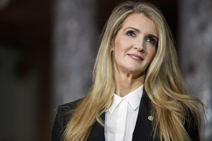 Sen. Kelly Loeffler, R-Ga., arrives for a re-enactment of her swearing-in, Monday Jan. 6, 2020, on Capitol Hill in Washington. (AP Photo/Jacquelyn Martin)