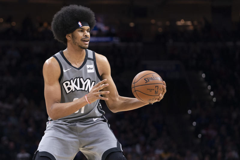 PHILADELPHIA, PA - FEBRUARY 20: Jarrett Allen #31 of the Brooklyn Nets controls the ball against the Philadelphia 76ers at the Wells Fargo Center on February 20, 2020 in Philadelphia, Pennsylvania. The 76ers defeated the Nets 112-104 in overtime. NOTE TO USER: User expressly acknowledges and agrees that, by downloading and/or using this photograph, user is consenting to the terms and conditions of the Getty Images License Agreement. (Photo by Mitchell Leff/Getty Images)