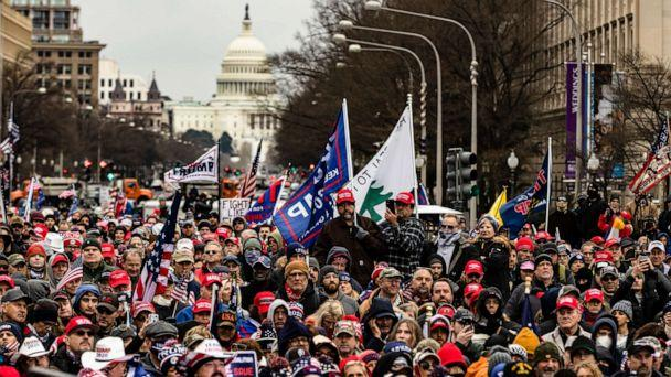 PHOTO: Supporters of President Donald Trump gather in Freedom Plaza for a rally on Jan. 5, 2021, in Washington, D.C. (Samuel Corum/Getty Images)