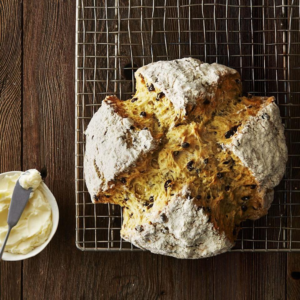 "<p>Slice up a warm loaf and serve with plenty of Irish butter! This classic is also a great for breakfast, or even <a href=""https://www.goodhousekeeping.com/food-recipes/dessert/g3262/st-patricks-day-desserts/"" target=""_blank"">dessert</a>.<em><br></em></p><p><em><a href=""https://www.goodhousekeeping.com/food-recipes/a5266/soda-bread-1578/"" target=""_blank"">Get the recipe for Soda Bread »</a></em></p>"