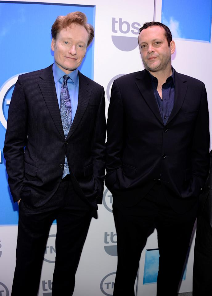 "Conan O'Brien (""Conan"") and Vince Vaughn (""Sullivan and Son"") attend the TNT/TBS 2012 Upfront Presentation at Hammerstein Ballroom on May 16, 2012 in New York City."
