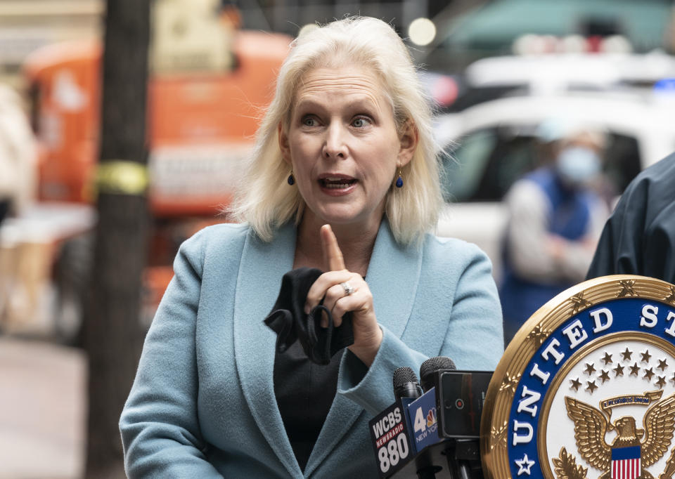 NEW YORK, UNITED STATES - 2020/11/15: U.S. Senator Kirsten Gillibrand with Chuck Schumer (not pictured) demand that Senate Leader Mitch McConnell deliver robust stimulus bill at presser on 780 3rd Avenue. Both Senators demanded that Mitch McConnell accepted the mandate of the recent election and put a robust COVID relief bill on the Senate floor as soon as possible. They also pointed to tweet by President Donald Trump where he stated that McConnell should stop blocking relief bill. Senators stated that next relief package must contain tools to tackle food insecurity, rental assistance, universal paid leave, and the fair and equitable distribution of a vaccine as well as to be detailed for New York State including relief for MTA. (Photo by Lev Radin/Pacific Press/LightRocket via Getty Images)