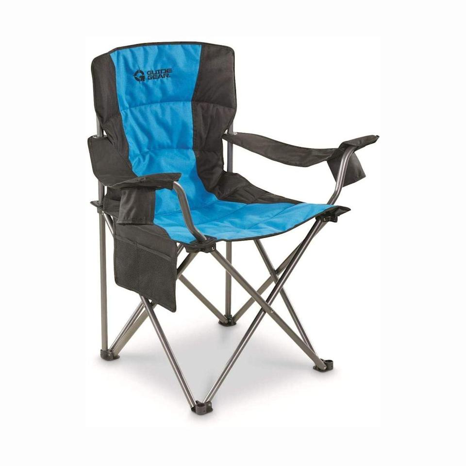 """<p><strong>Guide Gear</strong></p><p>amazon.com</p><p><strong>$59.99</strong></p><p><a href=""""https://www.amazon.com/Guide-Gear-Oversized-Chair-500-lb-Capacity/dp/B0885Z7JN1/?tag=syn-yahoo-20&ascsubtag=%5Bartid%7C10055.g.31954468%5Bsrc%7Cyahoo-us"""" rel=""""nofollow noopener"""" target=""""_blank"""" data-ylk=""""slk:Shop Now"""" class=""""link rapid-noclick-resp"""">Shop Now</a></p><p>If you're on the bigger side, this chair brand has a whole line of chairs claimed to support heavier weights. This beach chair is built of a <strong>sturdy steel frame that apparently supports up to 500 pounds,</strong> and you'll still be sitting 20 inches off the ground, according to the brand. One satisfied Amazon reviewer writes, """"The chairs are very sturdy, but they're not heavy and easy to transport,"""" she says. </p>"""