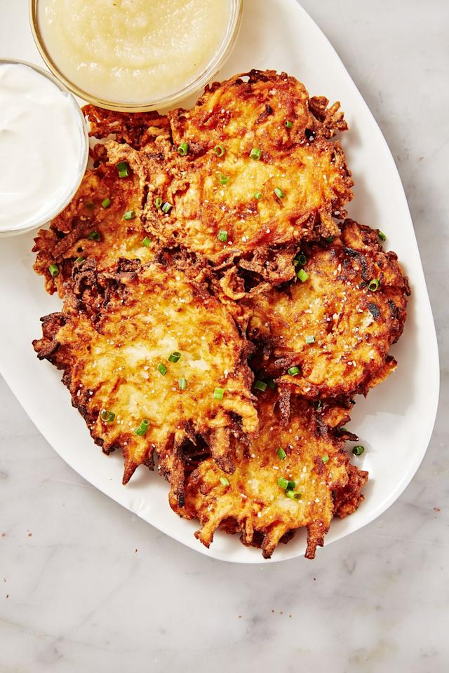 """<p>Latkes belong at the beginning, middle, and end of a meal, in our humble opinion.</p><p>Get the recipe from <a href=""""https://www.delish.com/cooking/recipe-ideas/recipes/a50756/best-latkes-recipe/"""" target=""""_blank"""">Delish</a>.</p>"""