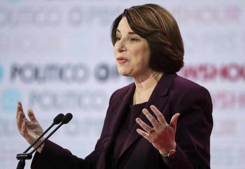 Democratic presidential candidate Sen. Amy Klobuchar, D-Minn., speaks during a Democratic presidential primary debate Thursday, Dec. 19, 2019, in Los Angeles. (AP Photo/Chris Carlson)