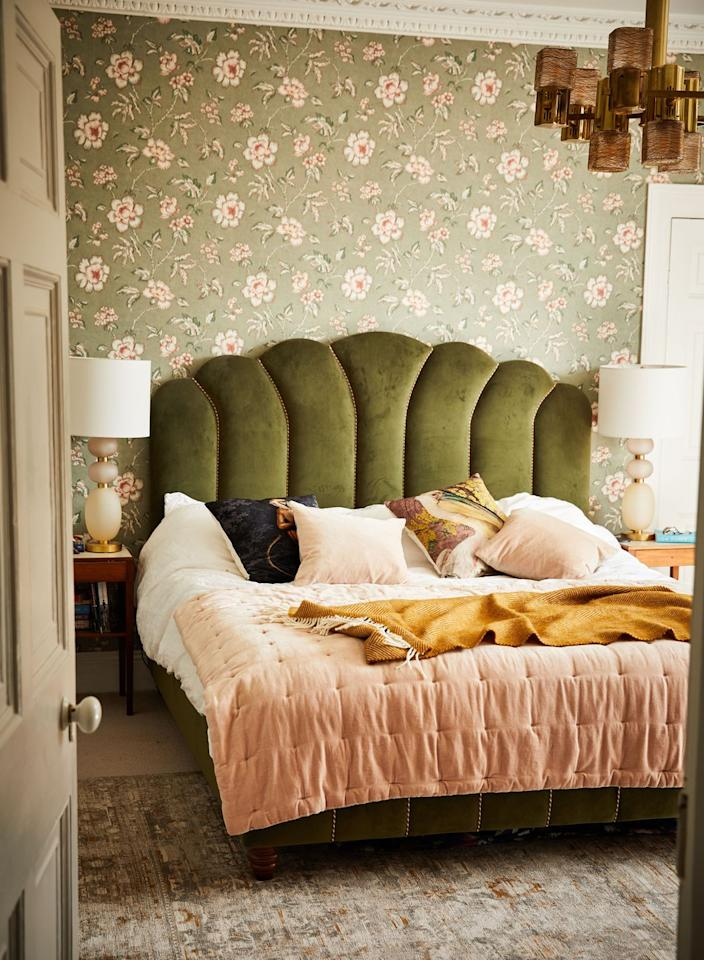 """<p>""""I went a bit maximalist with the textures and patterns in this room but that's what I wanted - cosy elegance. The velvet bed is from <a href=""""https://go.redirectingat.com?id=127X1599956&url=https%3A%2F%2Fwww.sohohome.com%2F&sref=https%3A%2F%2Fwww.harpersbazaar.com%2Fuk%2Fculture%2Flifestyle_homes%2Fg33991640%2Finside-the-home-of-ruth-crilly%2F"""" target=""""_blank"""">Soho Home</a>, the wallpaper is by a brilliant brand called<a href=""""https://www.borastapeter.com/en"""" target=""""_blank""""> Borastapeter </a>and the rug is<a href=""""https://www.louisdepoortere.be/"""" target=""""_blank""""> Louis de Poortere.</a> The big mid-century chandelier is Sciolari from a dealer in Italy. I get the majority of my vintage stuff from antiques dealers or through <a href=""""https://www.vinterior.co/"""" target=""""_blank"""">Vinterior</a>.""""</p>"""