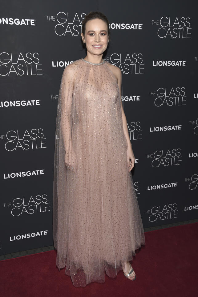 <p>Brie Larson was a true Hollywood princess in a floaty embellished gown by Monique Lhuillier.<br /><i>[Photo: AP]</i> </p>
