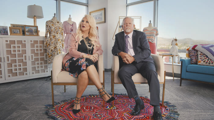 An image from Amazon Prime Video's documentary LuLaRich showing LuLaRoe brand founders DeAnne Brady and her husband Mark Stidham