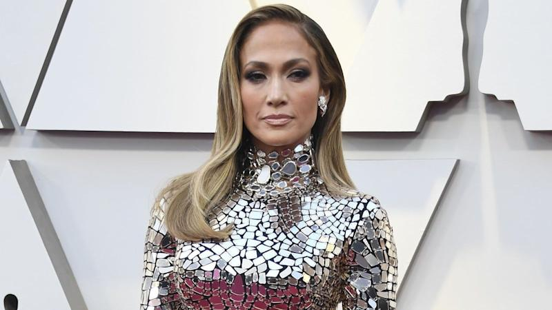 2f8d3fdef0dc Jennifer Lopez Is a Knockout in Mirrored Dress With Alex Rodriguez at 2019  Oscars