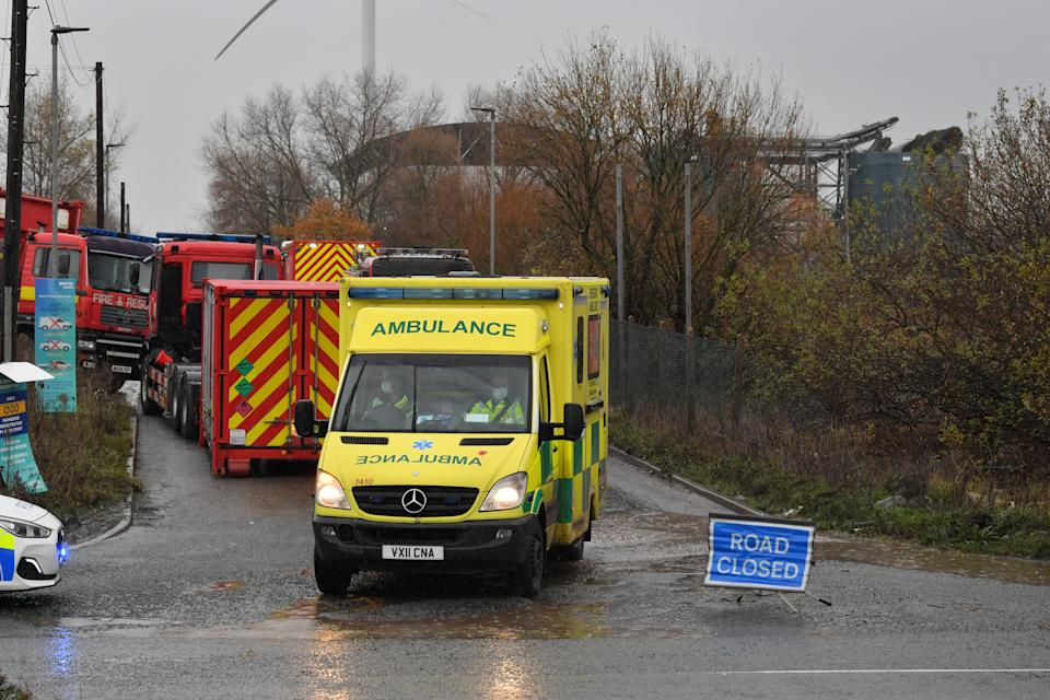 The scene in Avomouth, Bristol, as fire crews, police and paramedics are responding to a large explosion at a warehouse where there have been multiple casualties. (PA)