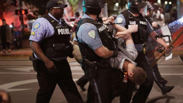 PHOTO: Police arrest a demonstrator protesting the acquittal of former St. Louis police officer Jason Stockley, Sept. 16, 2017, St. Louis.  (Scott Olson/Getty Images)
