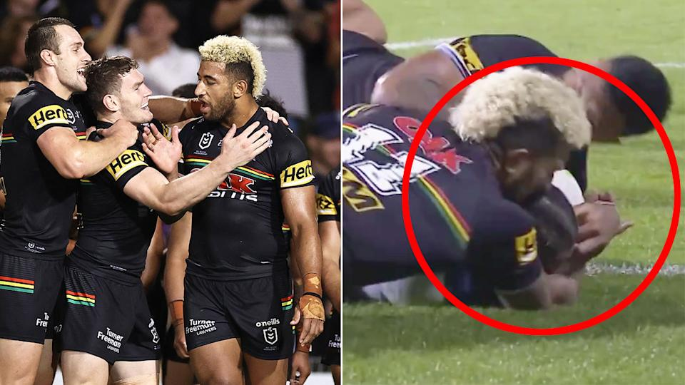 Pictured here, Panthers forward Viliame Kikau's try-saving tackle against the Storm.