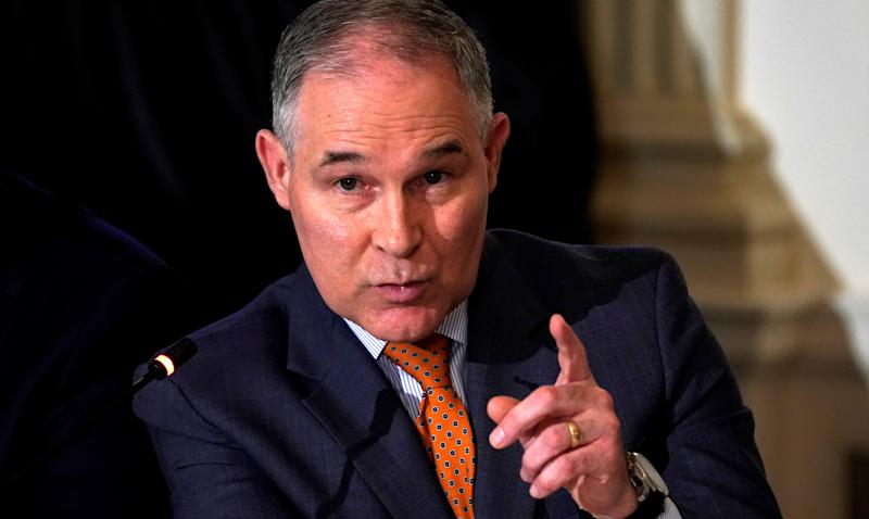 """Scott Pruitt, the head of the EPA, said his security detail makes the decision to book him in premium cabins due to a """"very toxic"""" political environment. (Kevin Lamarque / Reuters)"""