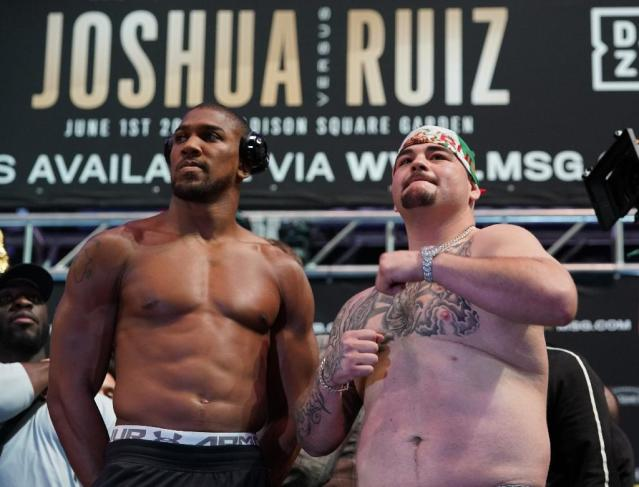World heavyweight champion Anthony Joshua (left) was more than 20 pounds lighter than challenger Andy Ruiz Jr. for their title fight (AFP Photo/TIMOTHY A. CLARY)