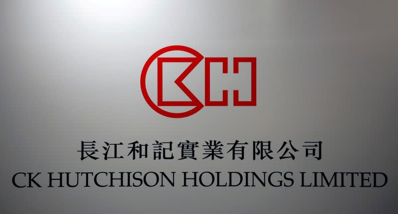 FILE PHOTO: FILE PHOTO: The company logo of CK Hutchison Holdings is displayed at a news conference in Hong Kong