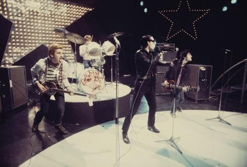 The Damned appearing on LWT TV Show 'Supersonic', London, 1977.