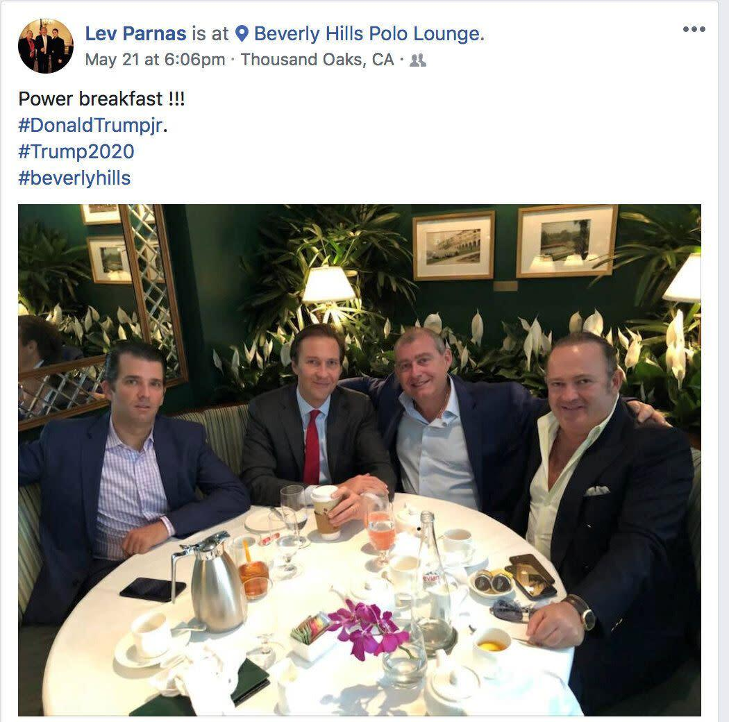 Donald Trump Jr., left, Trump campaign fundraiser Tommy Hicks Jr., Ukrainian-American businessman Lev Parnas and Belarus-born businessman Igor Fruman in a 2018 screen capture from Parnas' social media account made by the Campaign Legal Center and released by the CLC on Thursday. (Photo: Lev Parnas/Social Media via the Campaign Legal Center/Handout)