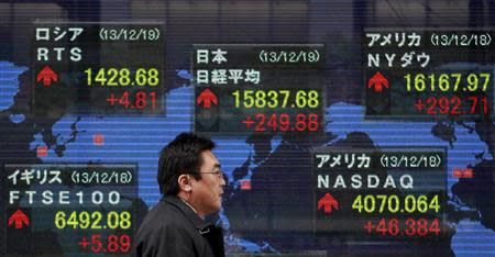 A pedestrian walks past an electronic board displaying various countries' share prices outside a brokerage in Tokyo December 19, 2013. REUTERS/Yuya Shino