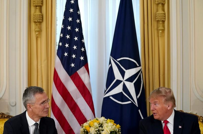 U.S. President Trump meets with NATO Secretary General Stoltenberg, ahead of the NATO summit, in London
